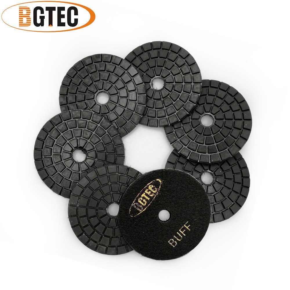 BGTEC 4 Inch Diamond Wet Polishing Pads for Granite Marble 7pcs #50