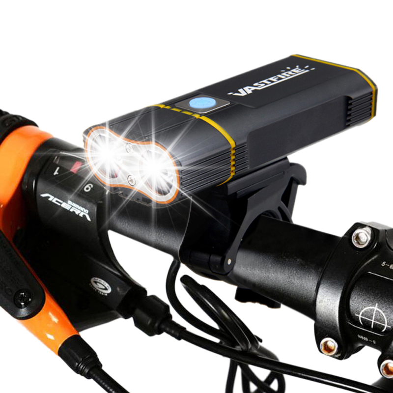USB Rechargeable Handlebar Headlight 6000LM Front Bike Light 2X XM-L2 LED Lamp Built-in 6000mAh Battery For Cycling
