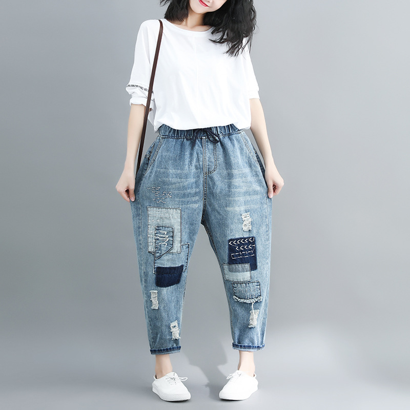 Sc2019 Spring New Style Korean-style Large Size Patch With Holes Embroidery Denim (Ankle-length Pants) Women's