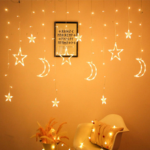 LED Star Moon Lamp Fairy Curtain String Lights Christmas Garland Outdoor Wedding Party Window Decor New Year