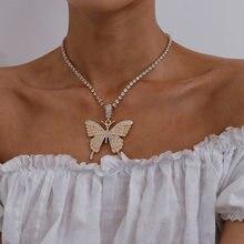 Модные преувеличенный Стразы кулон в форме бабочки для женщин