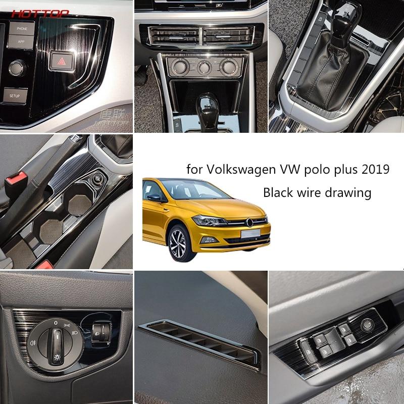 Stainless Steel Black Inner Trims Kit Decorator Set Cover Trim Frame For Volkswagen VW Polo Plus 2019