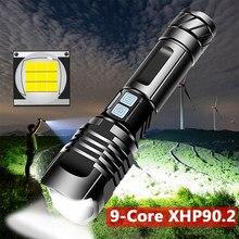 Xhp90.2 9-core super poderoso led lanterna tocha usb xhp70.2 zoom tático tocha 18650 26650 usb recarregável battey luz 30 w