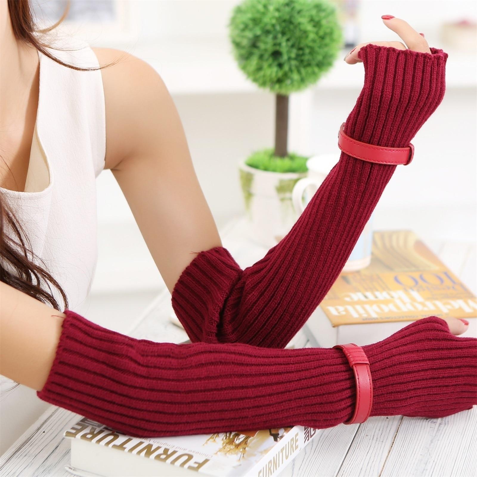 Unisex Men Women Long Gloves Cute Mittens Long Arm Warmer Gloves Fingerless Knitted Gloves