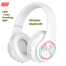 UDJ Bluetooth Wireless Headset Portable Colorful LED Breathing Light Support TF Built-in MP3 Player With Microphone Subwoofer St