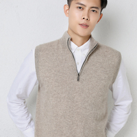 Man Vest 100% Goat Cashmere Knitted Zipper Neck Sleeveless Sweaters 2020 New Fashion 6Colors Pullovers Winter Male Tops