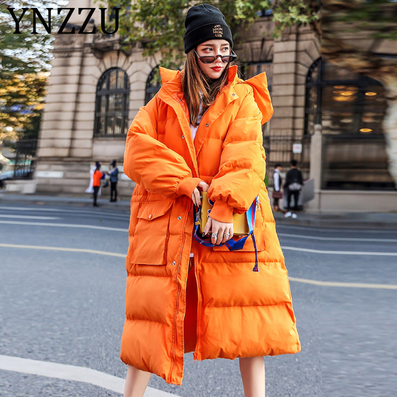 YNZZU 2019 New Winter Boyfriend Style Oversized Women's   Down   Jacket Solid Casual Long Female Duck   Down     Coats   Windproof A1172