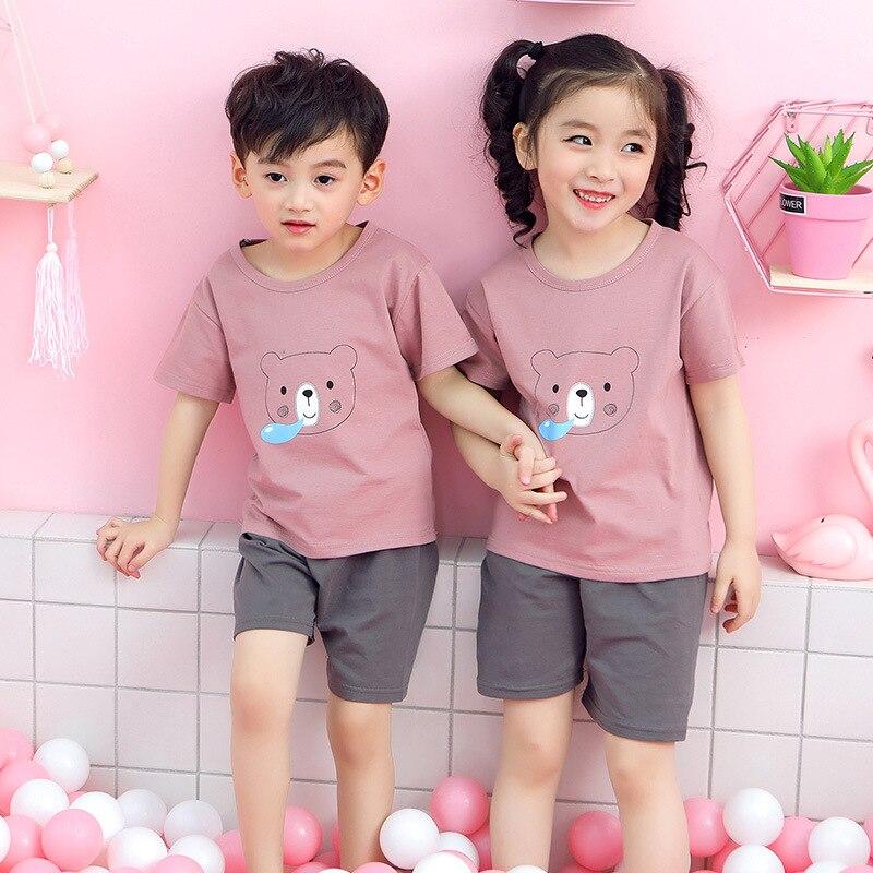 Summer Kids Pajamas Baby Boys Girls Clothing Sets Cartoon Short Sleeve T-Shirt+Shorts Kid Clothes Pijamas Children Sleepwear