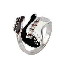 Men Womens Gothic Europe Opening Ring Alloy Lovers Rock Classic Music Engraved Guitar Punk NO10