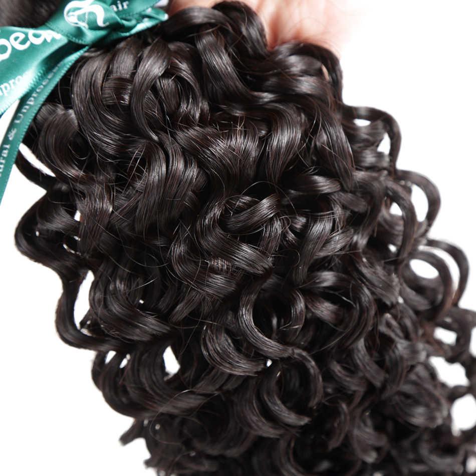 Rosabeauty 8-28 30 pulgadas mechones rizados con cierre malayo Remy 100% cabello humano onda de agua 3 4 mechones Cierre de encaje
