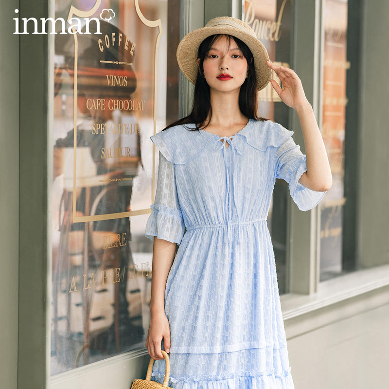 INMAN 2020 Autumn New Arrival Large Peter pan Collar Tie Waist Ruffled Soft Sweet Mid-sleeve Dress