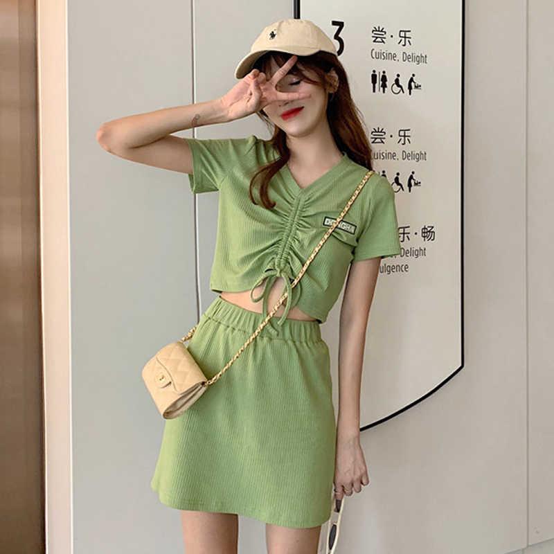 ผู้หญิงฤดูร้อนOuntfisชุดสั้นแขนเสื้อCrop Topsเสื้อยืดคอกลมเสื้อยืด + กระโปรงเอวสูงผู้หญิง 2 ชิ้นชุดเหงื่อเซ็กซี่E-หญิง