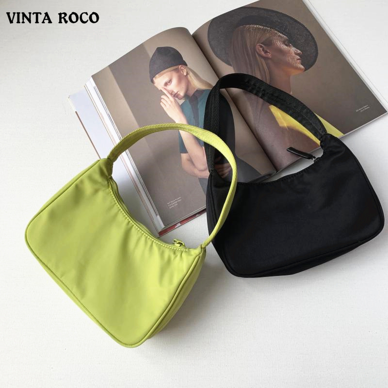 Trendy Vintage Retro Fashion Casual Designer Baguette Mini Shoulder Bag Nylon Handbag Female For Women Brand Small Clutch 2020