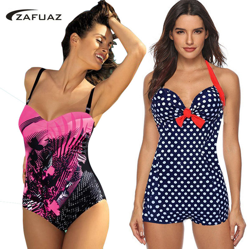 2019 Push Up One Piece Swimsuit Brazilian Bikini Sexy Vintage Retro Dots Plus Size Swimwear Women Monokini Bathing Suit Shorts