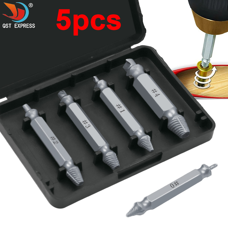 5pcs/set Damaged Screw Extractor Drill Bits Guide Set Broken Speed Out Easy Out Bolt Stud Stripped Screw Remover Tool
