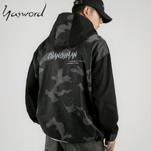 Yasword 2019 Camouflage Hooded Field Jacket Men Autumn Winter New Fashion Coats Hip Hop Style Hat Free Shipping