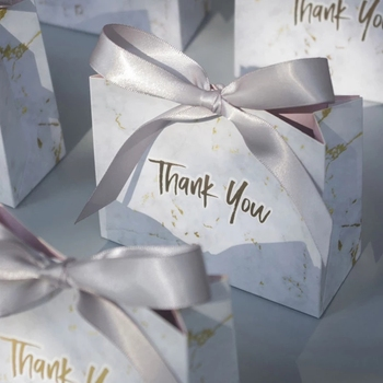 20Pcs Thank You Wedding Favors Candy Box Paper Gift Bag Birthday Party Decoration Supplies Baby Shower Chocolate Boxes Packaging 20pcs lot new design drawer paper candy chocolate boxes baby shower gift packaging box birthday wedding party favor box