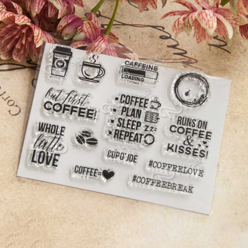Coffee Transparent Clear Silicone Stamp for DIY Scrapbooking Album DIY Decor E65B