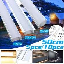 Новинка, 5/10 шт., 50 см алюминиевый держатель для каналов U/V/YW, три стиля для светодиодных лент, светильник, планка под шкафом, Кухонный Светильн...