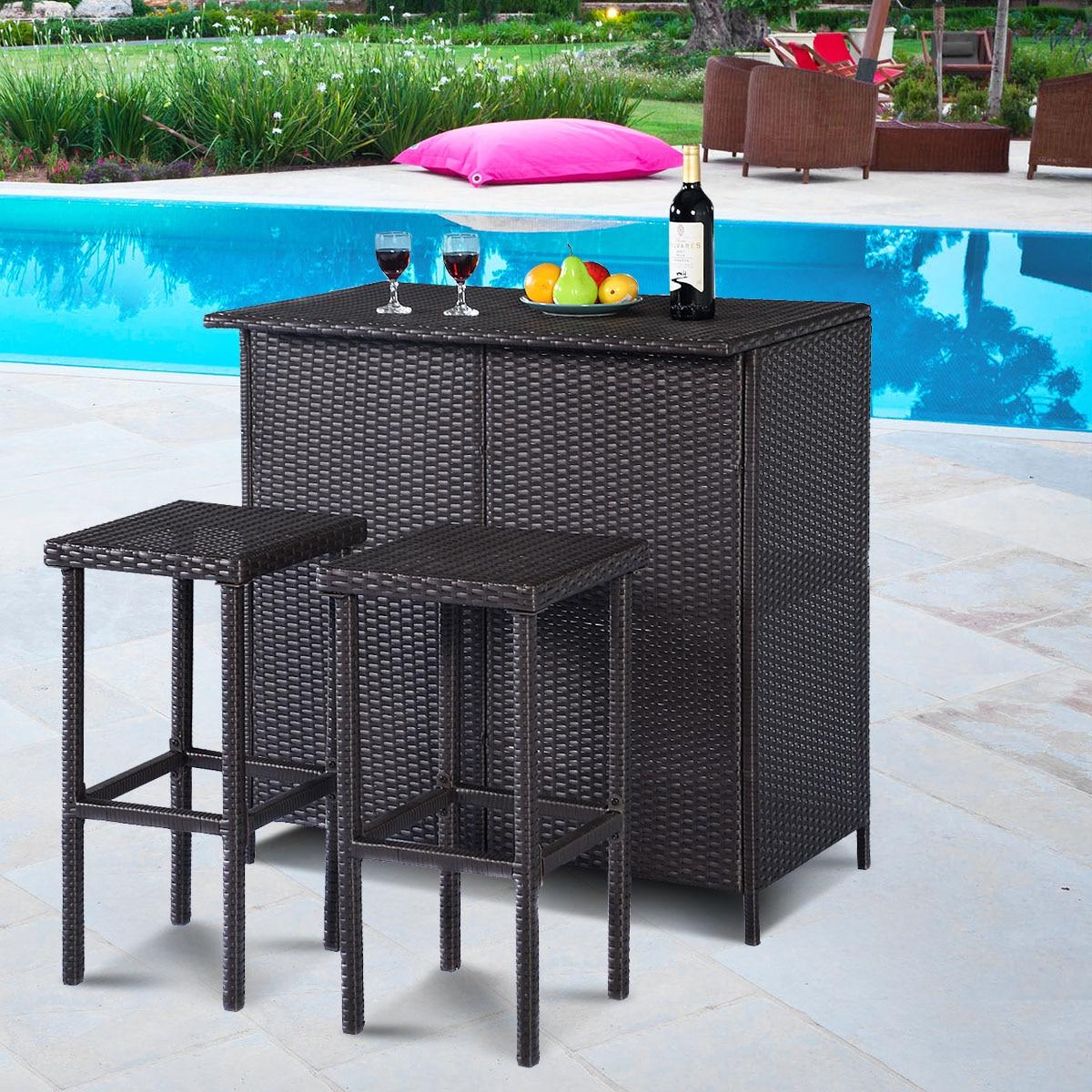 costway 3pcs rattan wicker bar set terrasse outdoor tisch 2 stuhle mobel braun hw62380