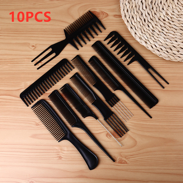 10pcs/Set New Professional Hair Brush Comb Salon Barber Hair Combs Hairbrush Hairdressing Combs Hair Care Styling Tools