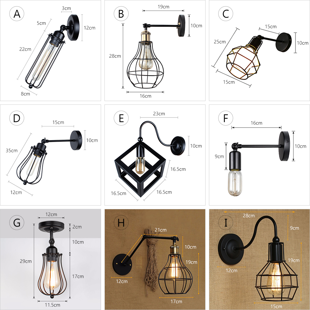 Vintage Industrial Wall Lamp,American Loft wall Light,Simple lampshade,E27, cage guard sconce,for corridor restaurant Store 2