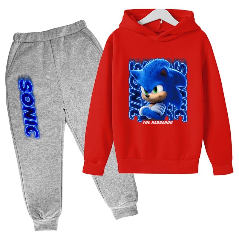 Children's Cartoon Hedgehog Game Sonic Hoodie Suit Girl's Fashion Pullover Kids Casual Boy's Sweatshirt +Sweatpants 2-Piece Set