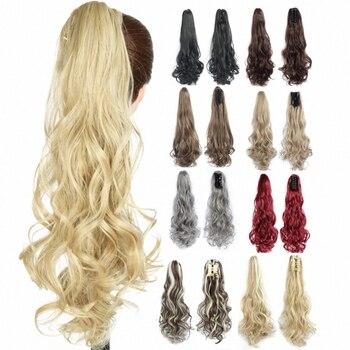 Синтетические волосы для конского хвоста, длинные волнистые накладные хвосты на заколке, термостойкие волосы для конского хвоста|Синтетические хвостики|   | АлиЭкспресс