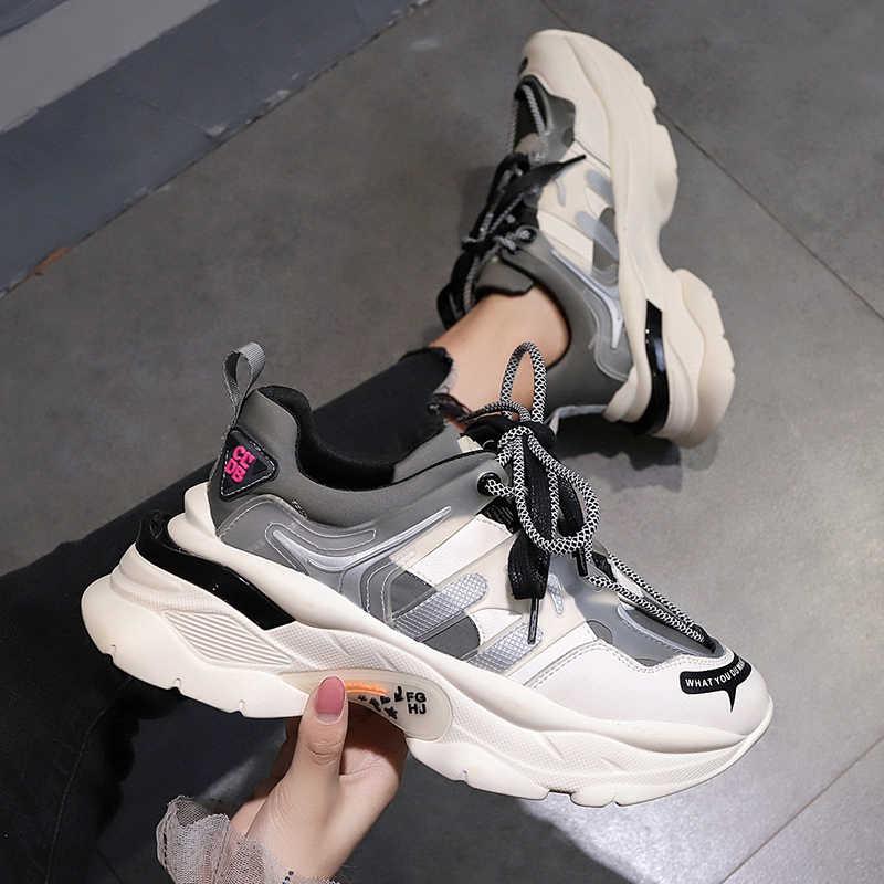 Novedad De Primavera 2020 Zapatillas De Deporte Para Mujer Zapatillas Deportivas Blancas De Plataforma Para Mujer Tallas Grandes 35 40 Zapatillas De Correr Aliexpress