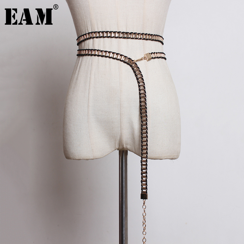 [EAM]  Metal Pu Leather Black Knitting Split Joint Long Belt Personality Women New Fashion Tide All-match Spring 2020 1N846