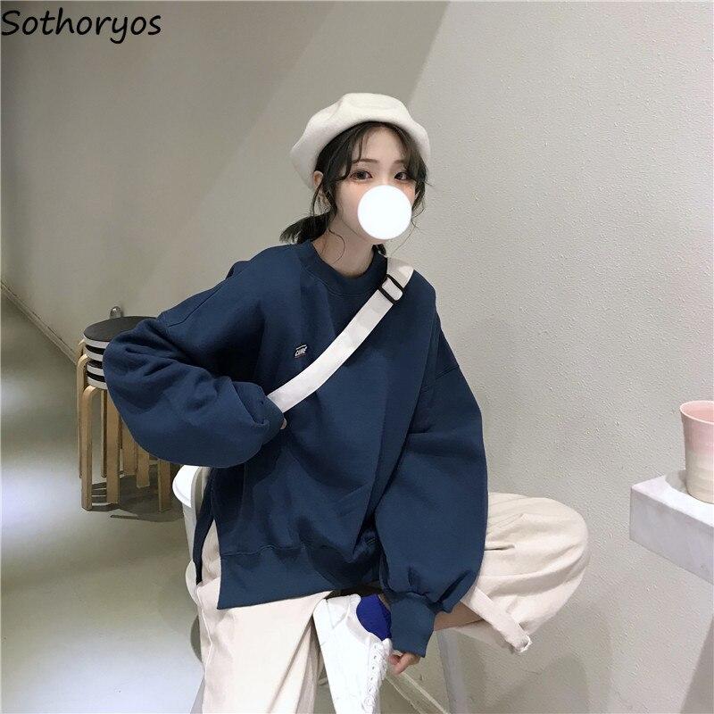 Hoodies Women Simple Letter Trendy Elegant Loose All-match O-Neck Korean Style Womens High Quality Female Leisure Sweatshirts