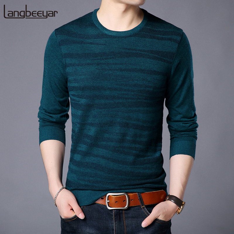 2019 Fashion Brand Sweater Mens Pullovers O-Neck Slim Fit Jumpers Knitred High Quality Winter Korean Style Casual Mens Clothes