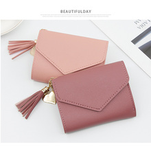 цена на 2019 Fashion Tassel Women Wallet Mini Wallets leather wallet Short Womens Wallets and Purses Carteira Feminina