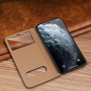 Image 4 - Caso para iphone 11 capa de couro genuíno capa de luxo para iphone 11 pro max capa flip janela ver casos de telefone com suporte