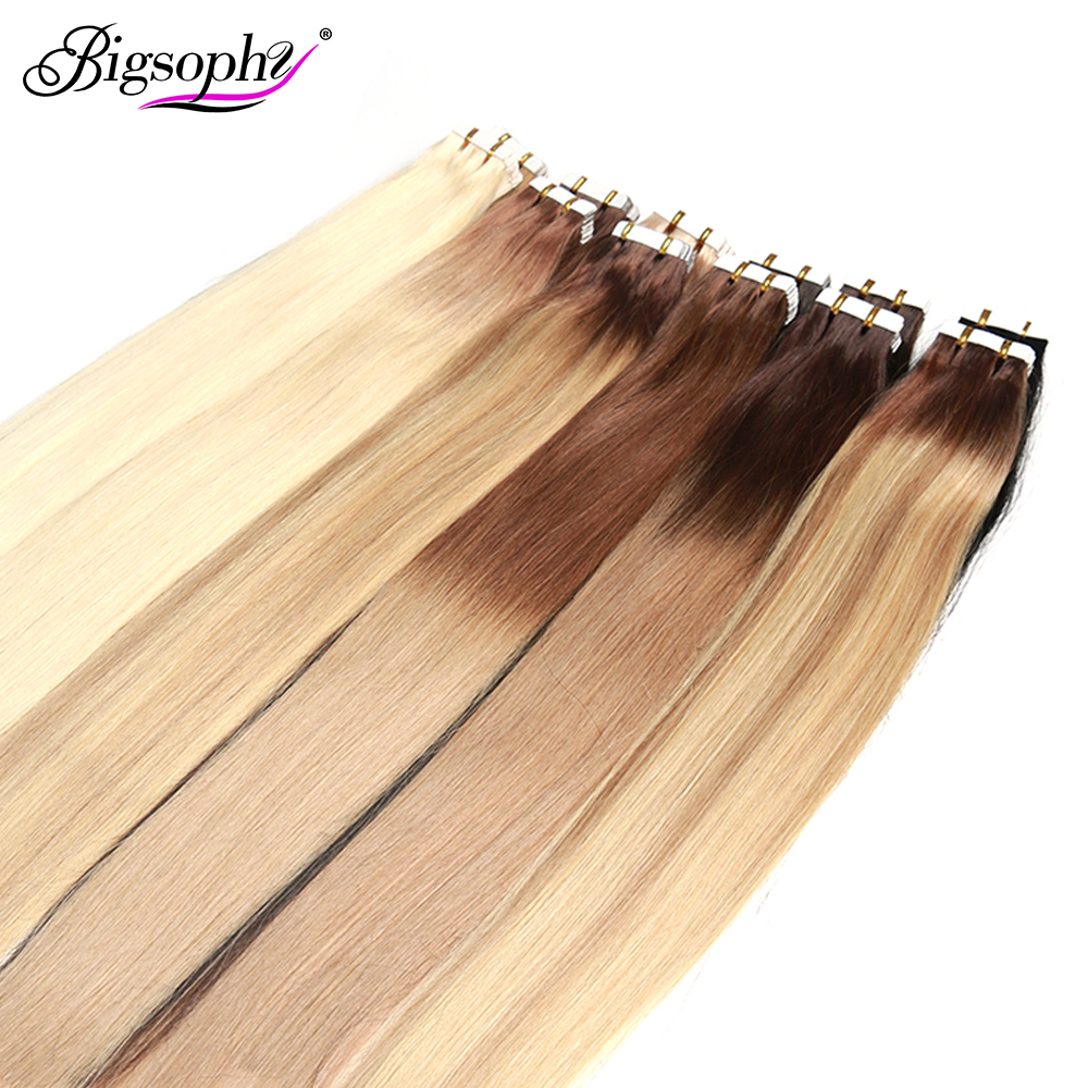 Bigsophy Straight Tape In Human Hair Extensions Human Hair Skin Weft Human Remy Hair PU Tape On Hair Extensions 14