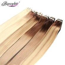 Bigsohy-extensiones de cabello humano liso, pelo humano Remy, PU, 14