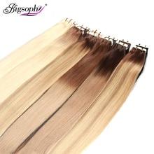 Прямые накладные человеческие волосы Bigsophy, накладные человеческие волосы, уток кожи, человеческие волосы Remy, лента из искусственной кожи для наращивания волос 14 26 дюймов