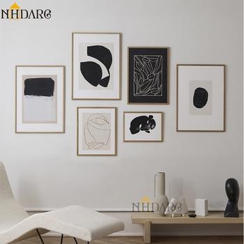 Скандинавский черный и белый абстрактный джикли с принтом, Картина на холсте, скандинавские настенные картины, художественный домашний декор для гостиной|Рисование и каллиграфия|   | АлиЭкспресс