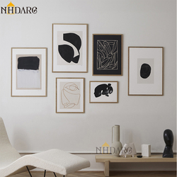 Scandinavian Black White Abstract Giclee Print Canvas Painting Nordic Wall Pictures Art Home Decor for Living Room