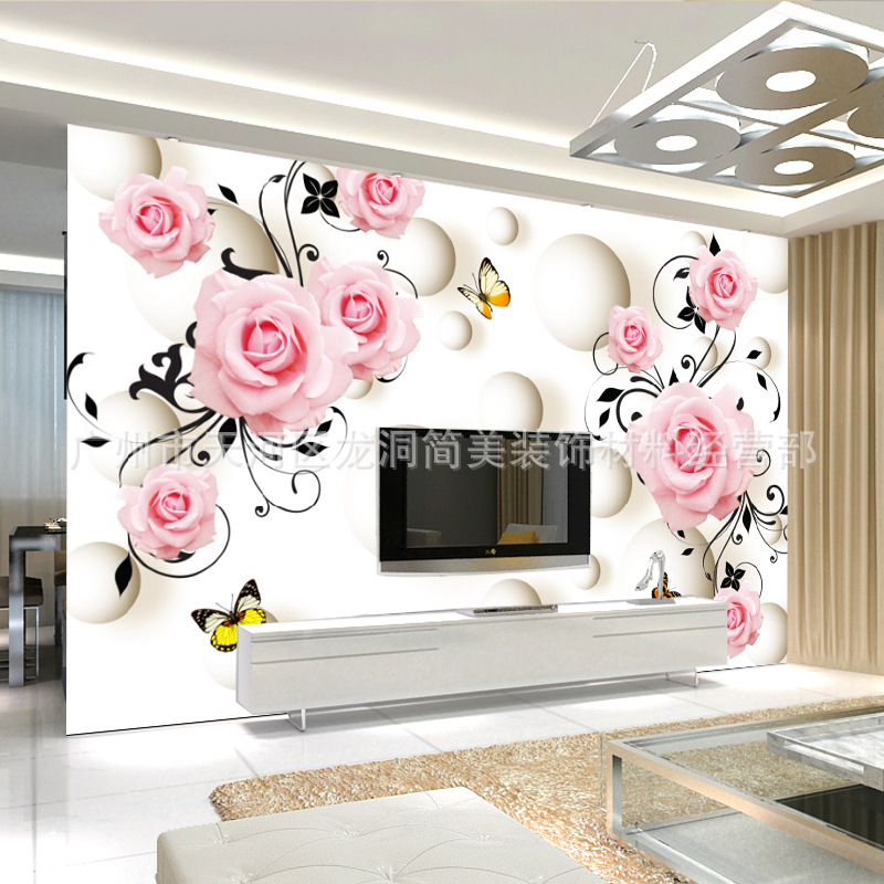 TV Backdrop Mural 3D Wallpaper Living Room Bedroom European Style Nonwoven Fabric Pastoral Style Seamless Large Mural Wallpaper