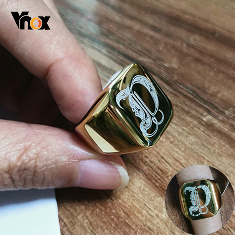 Vnox Heavy A-Z Initial Stamp Ring For Men Gold Color Solid Stainless Steel Signet Ring Chunky Punk Finger Jewelry Customize Gift