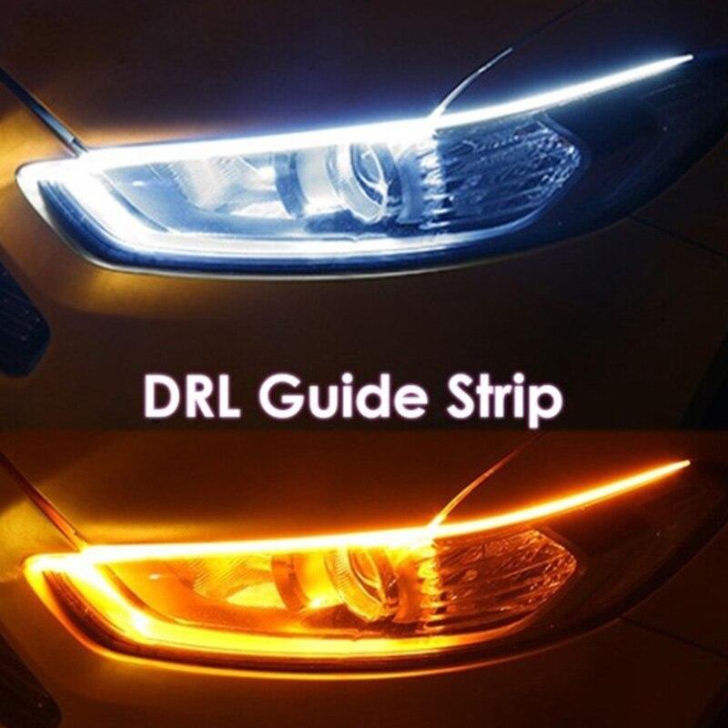 Начните сканирование автомобильного светодиодного ежедневного освещения, внешний Ультратонкий свет, направляющая полоса, двухцветный стр...