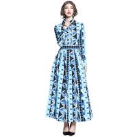 New Arrival Autumn Runway Maxi Dress Women Vintage Geometric Printed Long Sleeve A Line Dress Single breasted Festival Vestidos