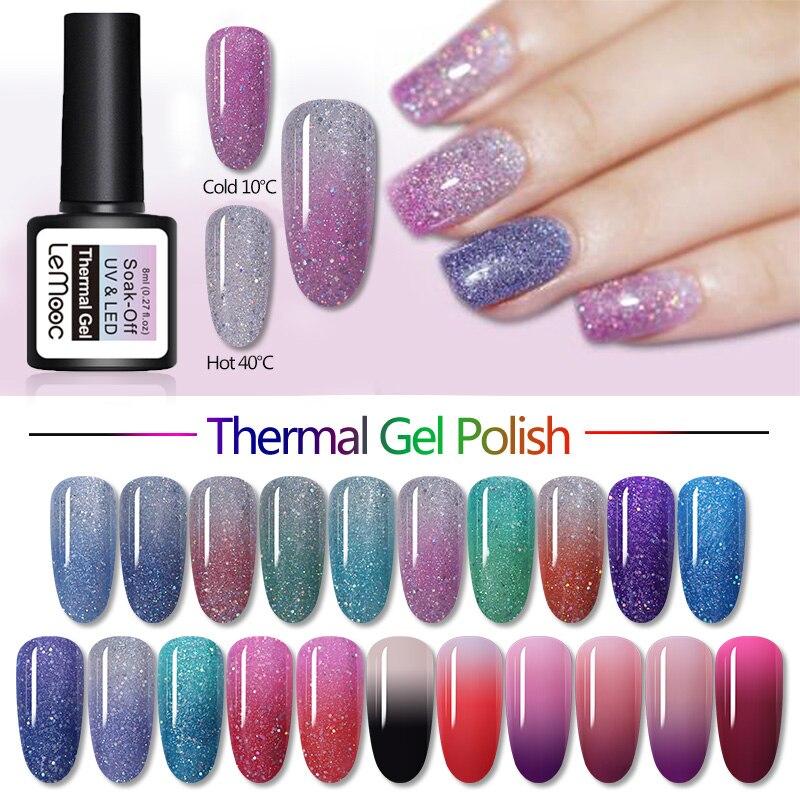 LEMOOC 8ml Smalto Del Gel Termico Shimmer Glitter Paillettes Temperatura cambia Colore Soak Off Gel UV LED Unghie Artistiche di Disegno vernice
