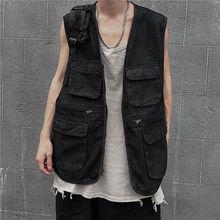 Black Denim Vest Men's Fashion Washed Retro Multi-pocket Tooling Vest Men Streetwear Wild Hip-hop Zipper Denim Vest Jacket M-4XL