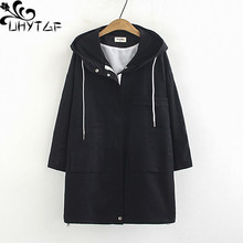 UHYTGF 5XL plus size coat outerwear women fashion hooded cas