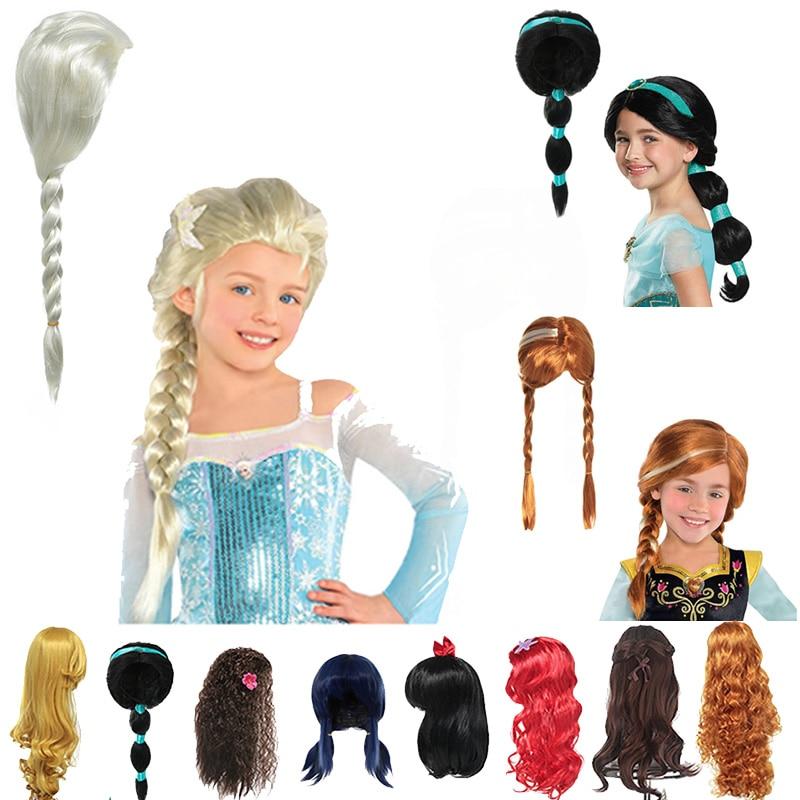 Elsa Wig Kids Girl Anna Dress Up Cosplay Hair Braid Mermaid Ariel Princess Fancy Makeup Headwear Halloween Party Accessories