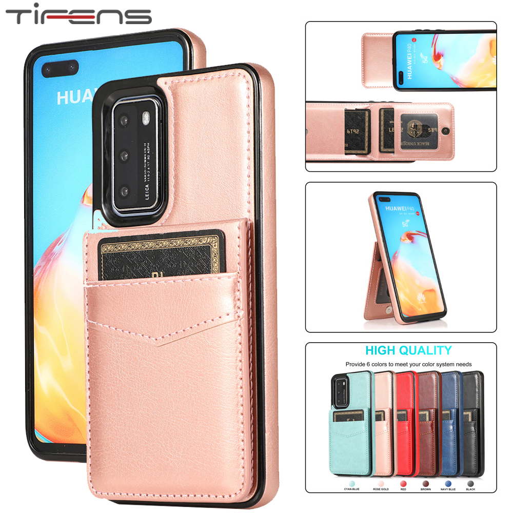Luxury Leather Card Wallet Case For Huawei P40 P30 Mate 30 20 Lite Pro Plus P40lite Flip Stand Holder Phone Bag Etui Cover Coque