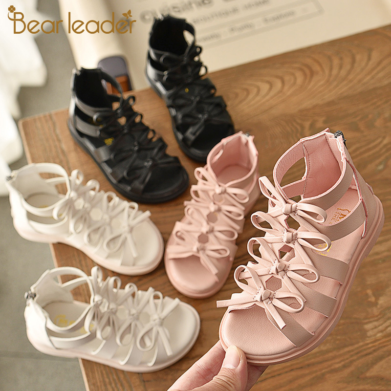 Bear Leader Girls Cute Shoes 2020 New Summer Kids Bow Sequined Footwear Sweet Single Shoes Children Cross-Strap Sandals Shoes