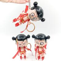 None Cute Chinese Myth Anime Nezha Deformable Model Pendant Keychain High Quality Mini Toys Small Model